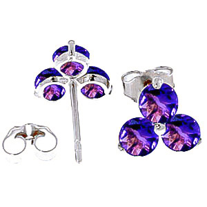 Amethyst Trinity Stud Earrings 1.5ctw in 9ct White Gold