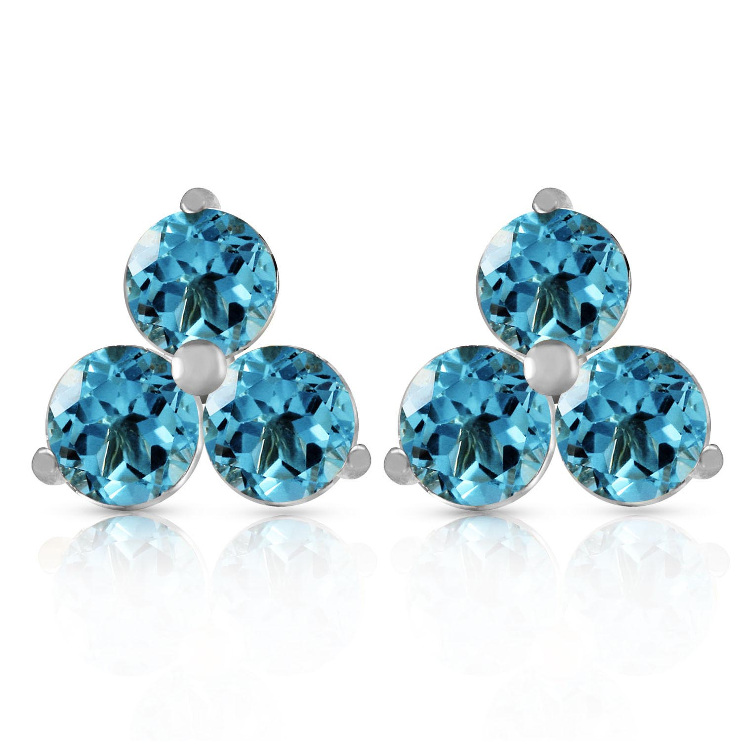 Blue Topaz Trinity Stud Earrings 1.5ctw in 9ct White Gold