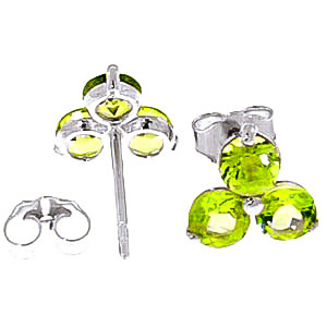 Peridot Trinity Stud Earrings 1.5ctw in 14K White Gold
