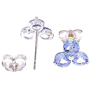 Tanzanite Trinity Stud Earrings 1.5ctw in 9ct White Gold
