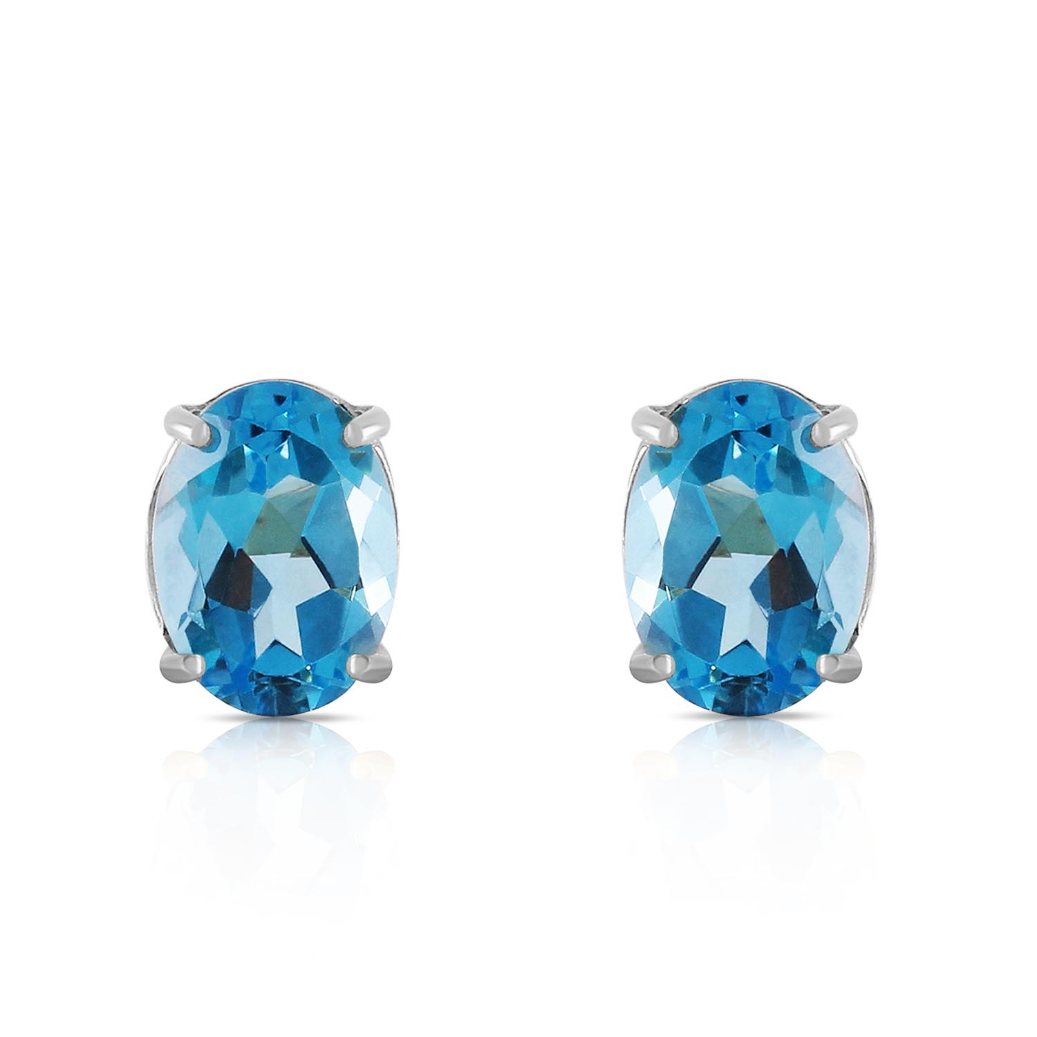 Blue Topaz Stud Earrings 1.8ctw in 14K White Gold
