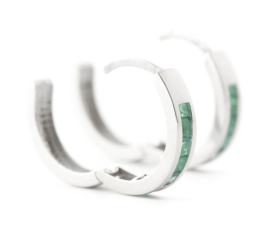 Emerald Huggie Earrings 1.85ct in 9ct White Gold