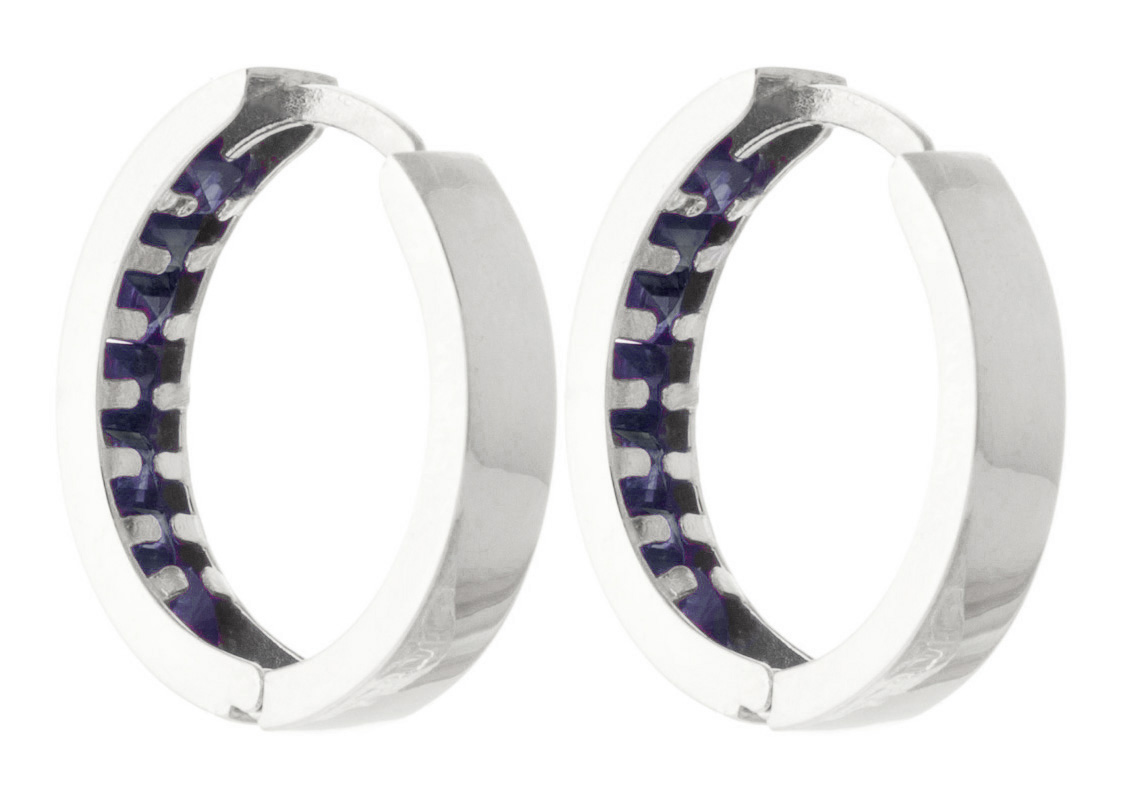 Sapphire Huggie Earrings 1.85ct in 14K White Gold