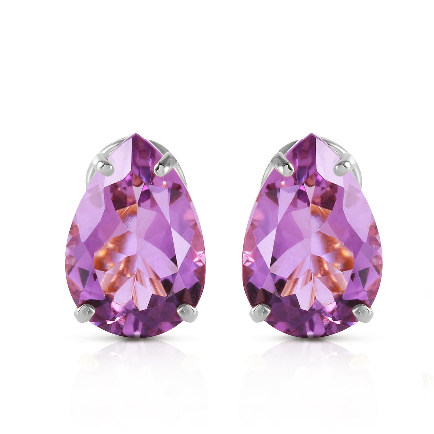 Amethyst Droplet Stud Earrings 10.0ctw in 9ct White Gold