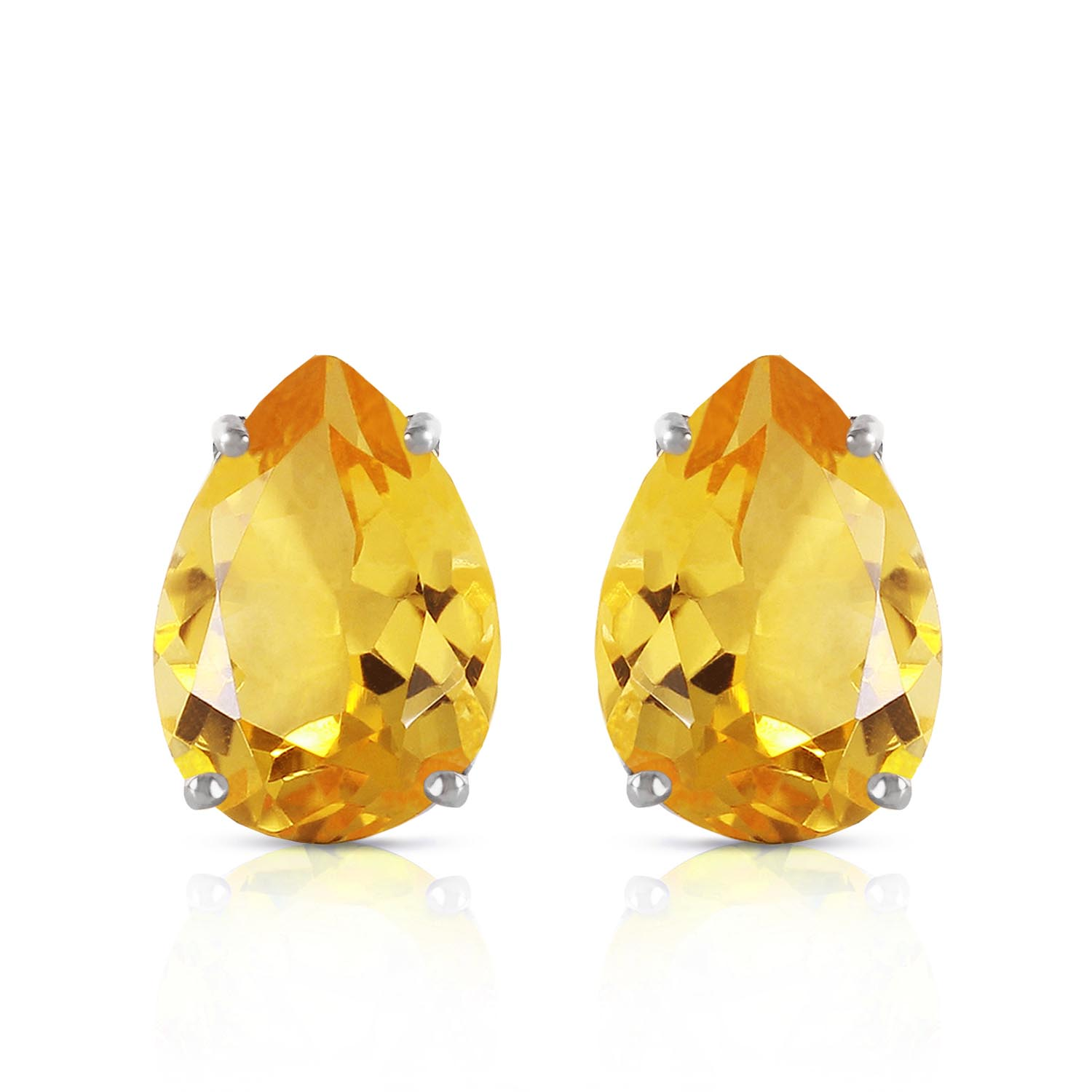 Citrine Droplet Stud Earrings 10.0ctw in 9ct White Gold