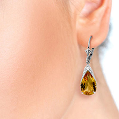 Citrine Snowcap Drop Earrings 10.0ctw in 9ct White Gold