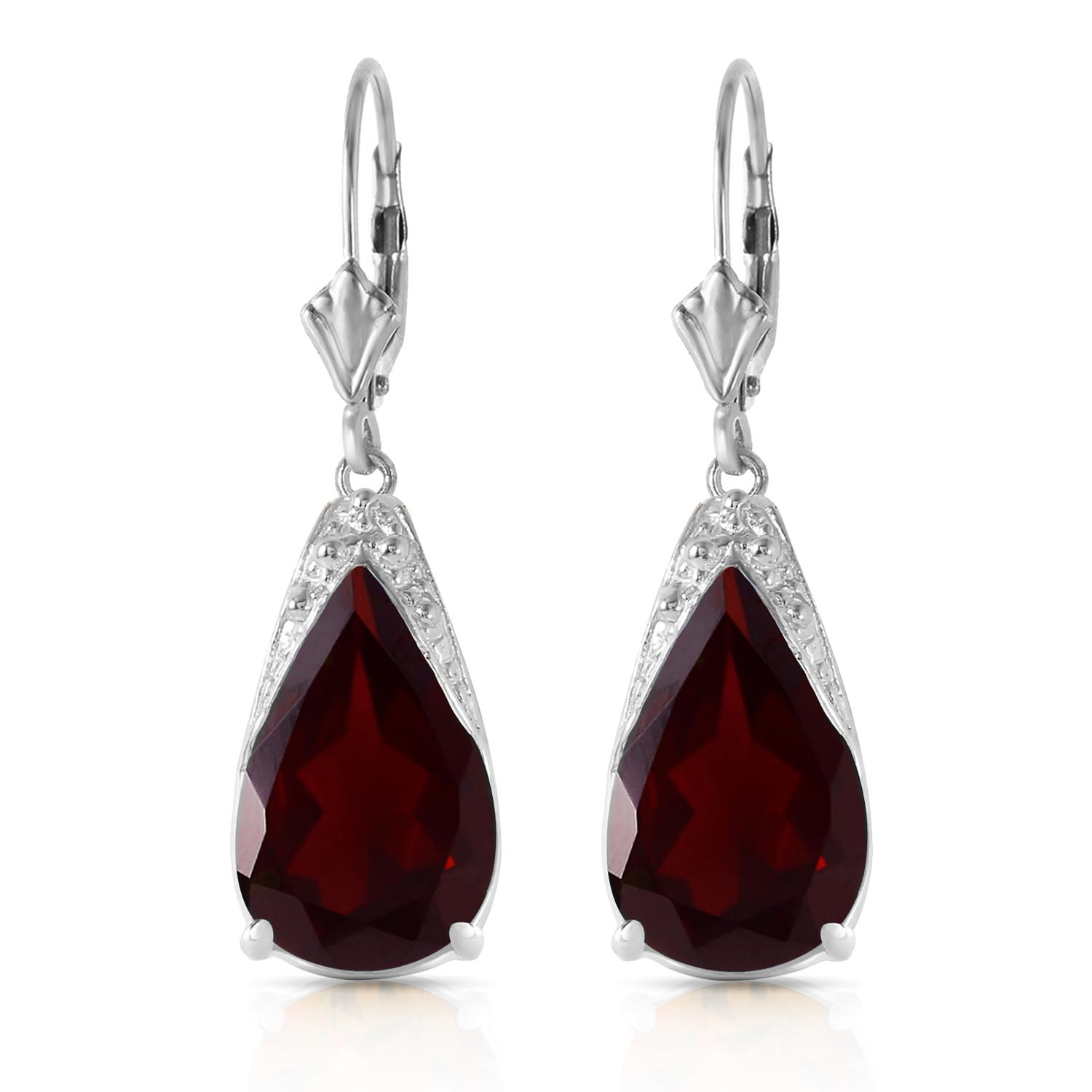 Garnet Snowcap Drop Earrings 10.0ctw in 9ct White Gold