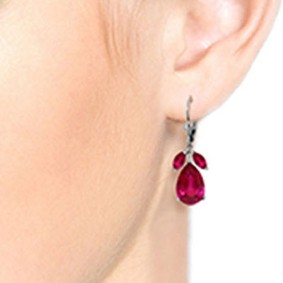 Ruby Drop Earrings 10.0ctw in 9ct White Gold