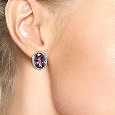 Amethyst and Diamond French Clip Halo Earrings 10.2ctw in 14K White Gold