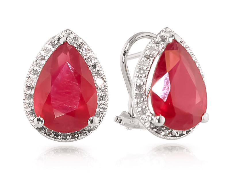 Ruby and Diamond French Clip Halo Earrings 10.7ctw in 14K White Gold