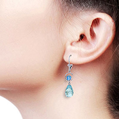 Blue Topaz Briolette Drop Earrings 11.0ctw in 9ct White Gold