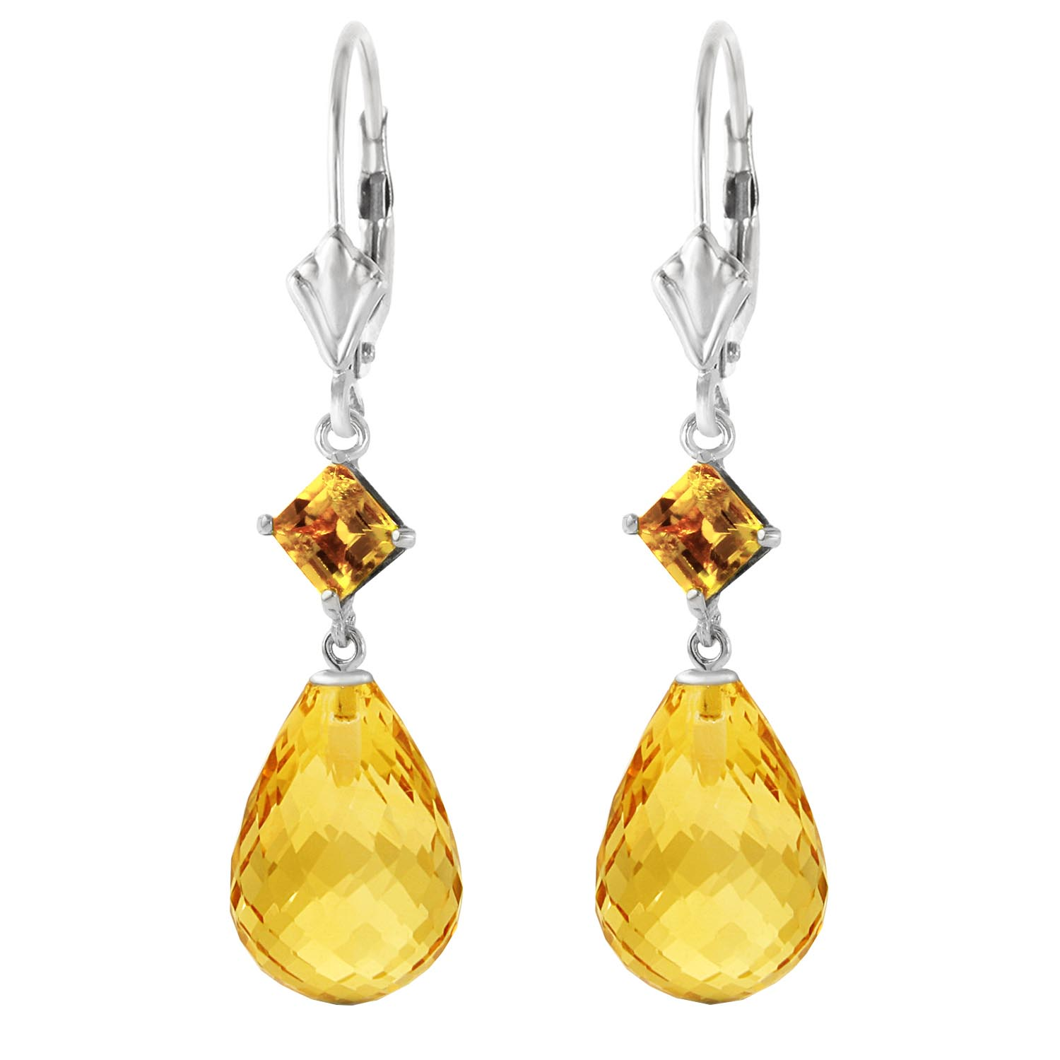Citrine Briolette Drop Earrings 11.0ctw in 14K White Gold