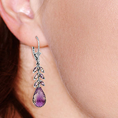Amethyst Briolette Drop Earrings 11.2ctw in 14K White Gold