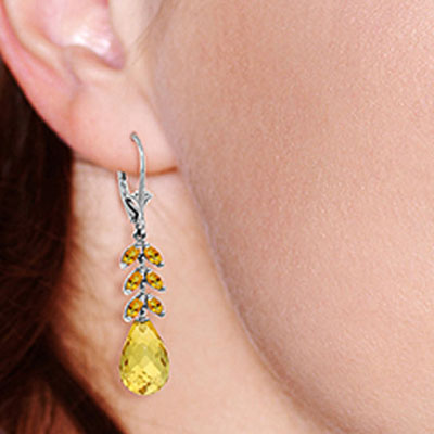 Citrine Briolette Drop Earrings 11.2ctw in 9ct White Gold