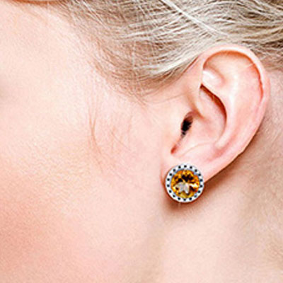 Citrine and Diamond Stud French Clip Halo Earrings 12.0ctw in 14K White Gold