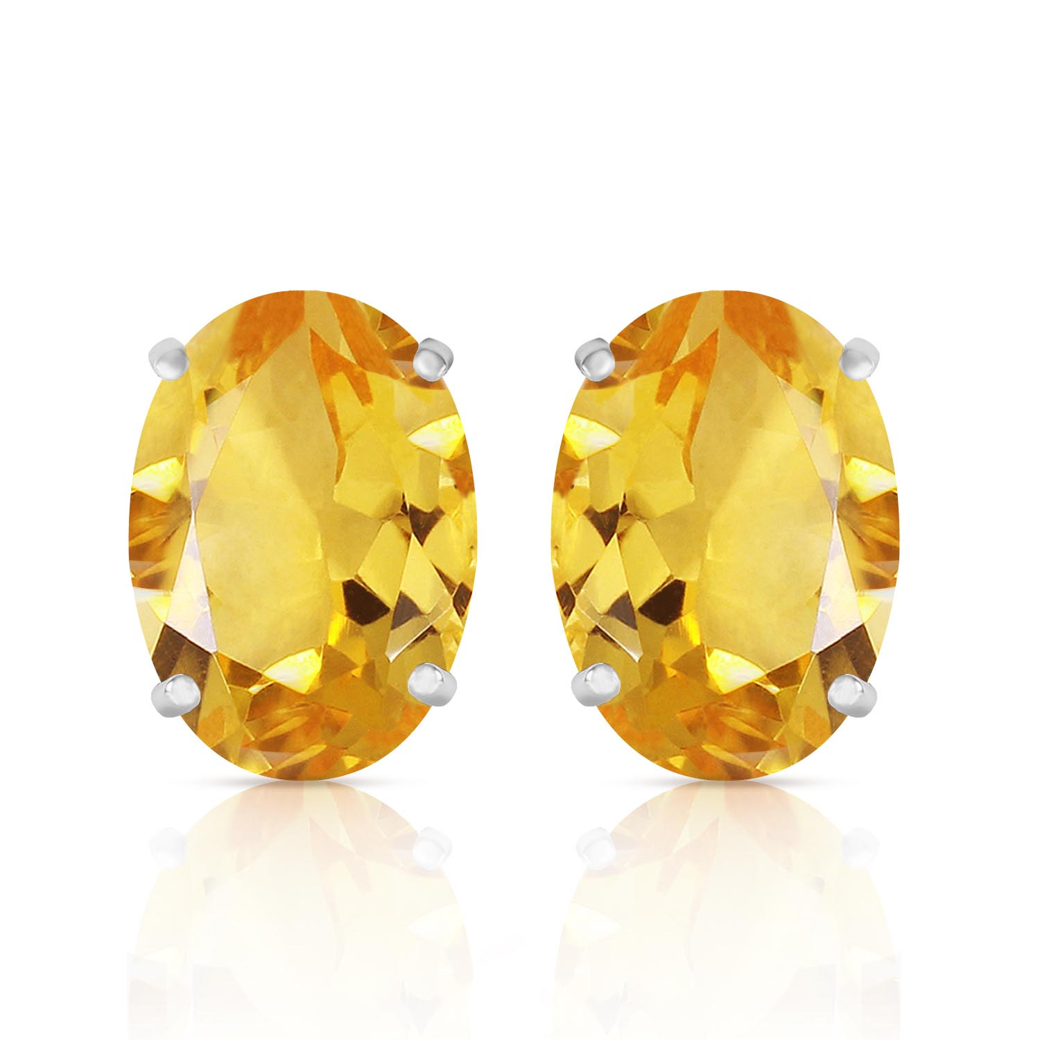 Citrine Stud Earrings 12.0ctw in 9ct White Gold
