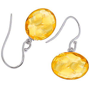 Citrine Chequer Cut Drop Earrings 12.0ctw in 14K White Gold