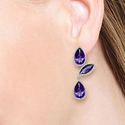 Amethyst Petal Drop Earrings 13.0ctw in 14K White Gold