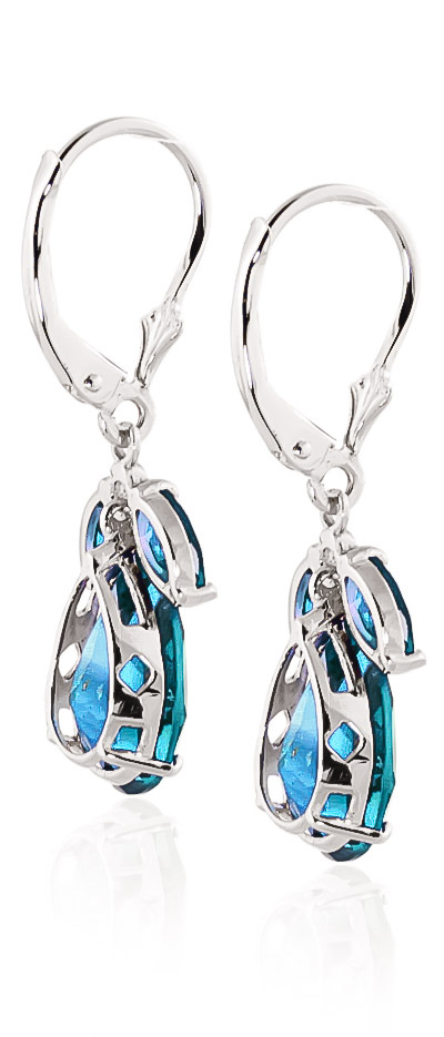 Blue Topaz Drop Earrings 13.0ctw in 9ct White Gold