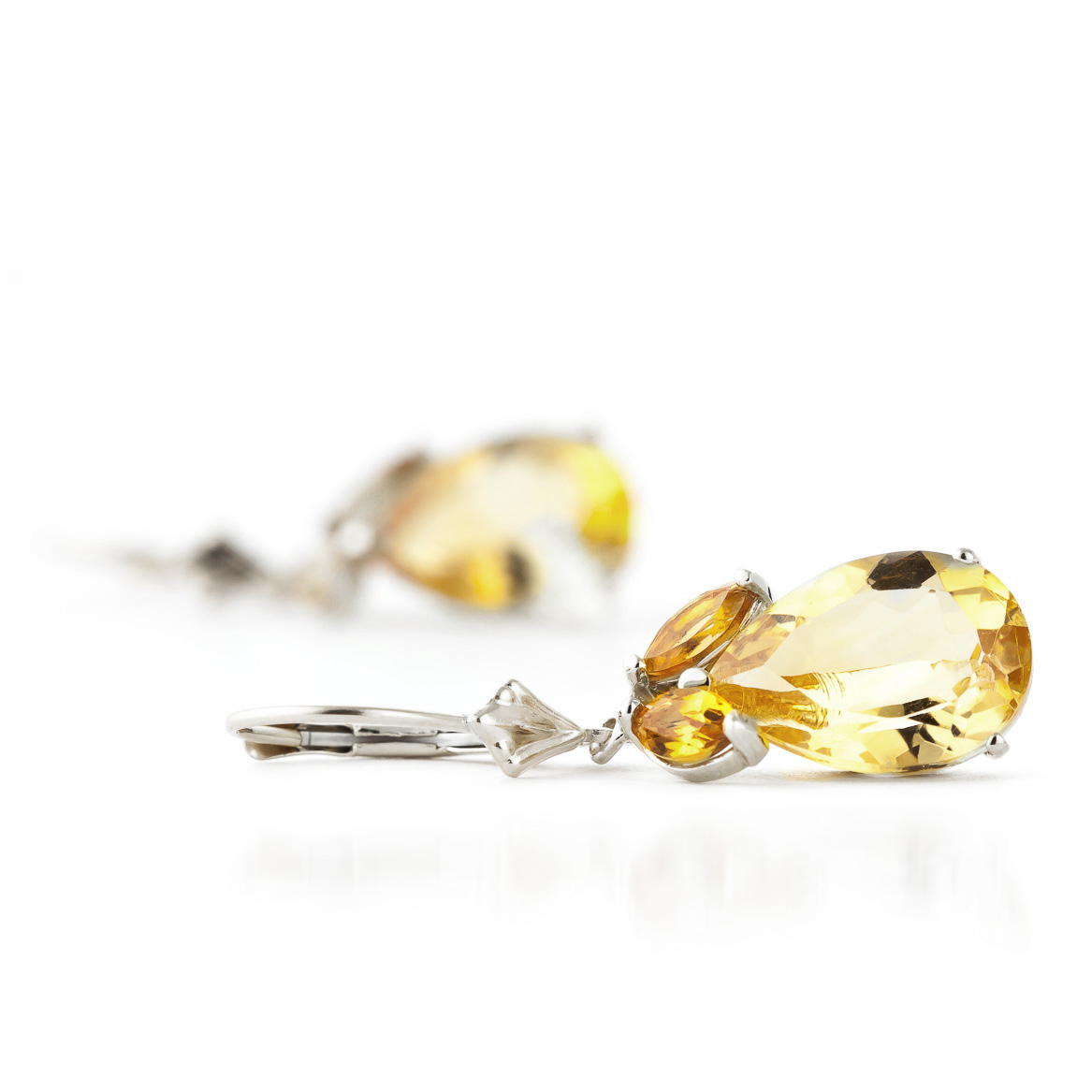 Citrine Drop Earrings 13.0ctw in 9ct White Gold