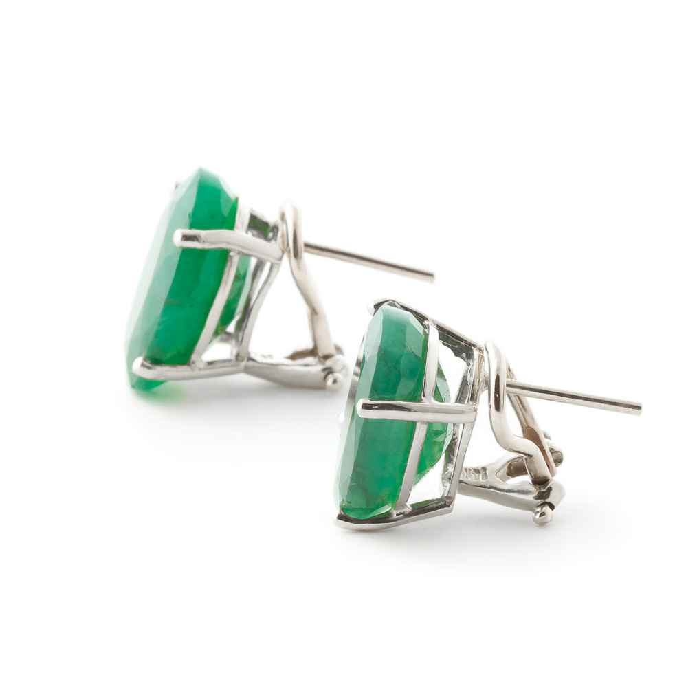 Emerald Stud Earrings 13.0ctw in 9ct White Gold