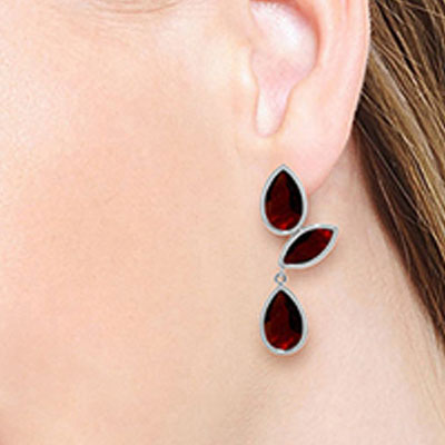 Garnet Petal Drop Earrings 13.0ctw in 9ct White Gold