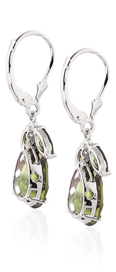 Green Amethyst Drop Earrings 13.0ctw in 9ct White Gold