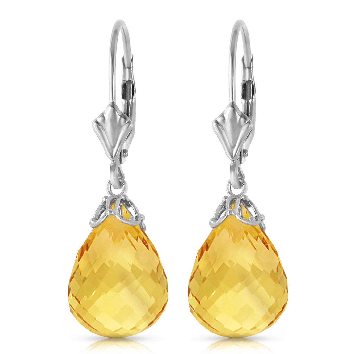 Citrine Crown Briolette Drop Earrings 14.0ctw in 9ct White Gold