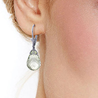 Green Amethyst Crown Briolette Drop Earrings 14.0ctw in 9ct White Gold
