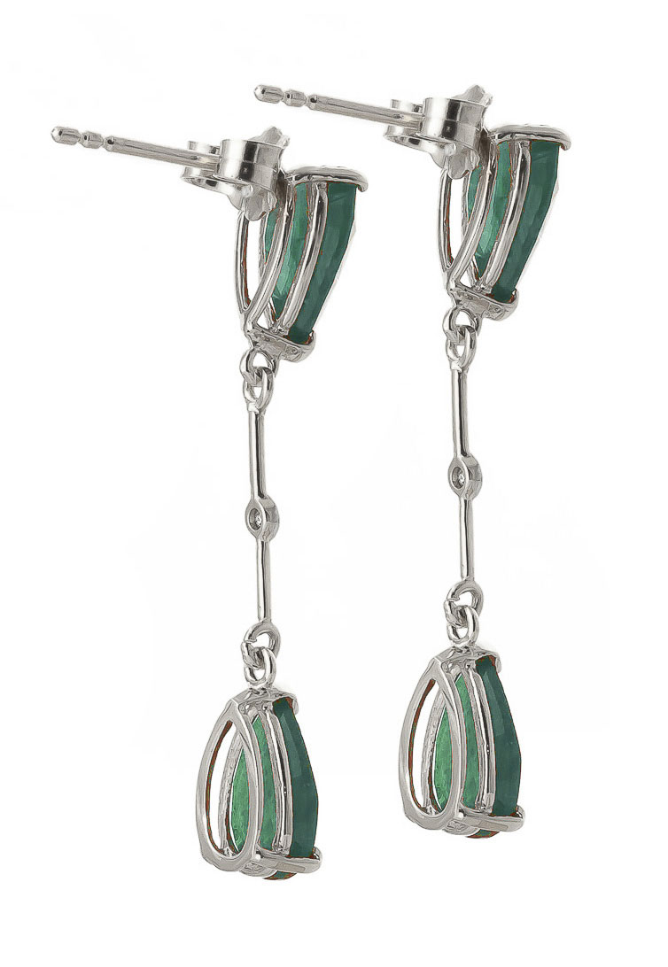 Emerald and Diamond Drop Earrings 15.0ctw in 14K White Gold