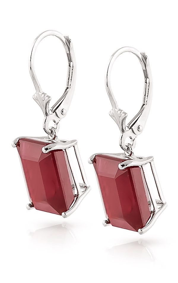 Ruby Drop Earrings 15.0ctw in 9ct White Gold