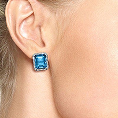 Blue Topaz and Diamond French Clip Halo Earrings 15.2ctw in 14K White Gold