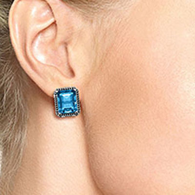 Blue Topaz and Diamond Stud French Clip Halo Earrings 15.2ctw in 14K White Gold