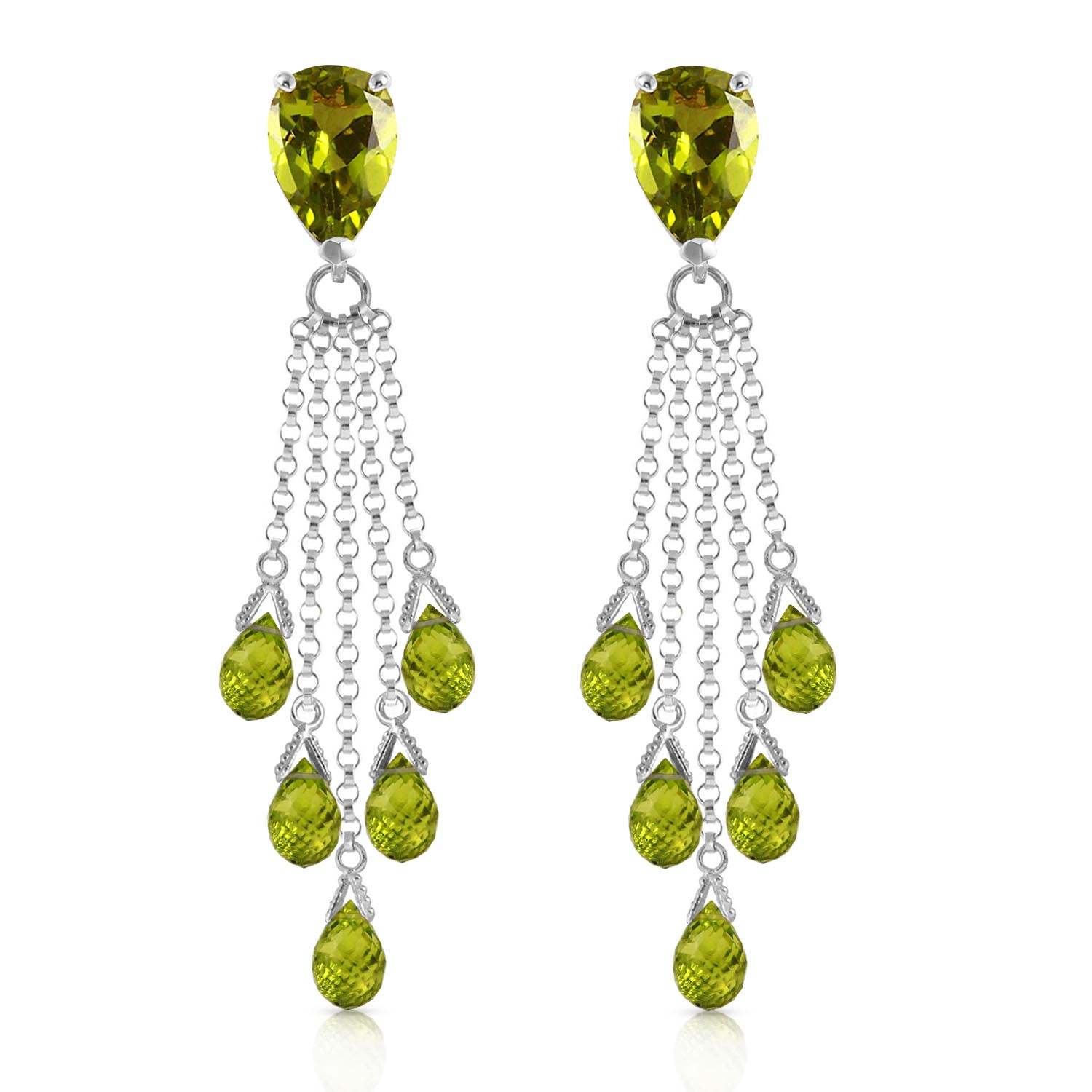Peridot Comet Tail Drop Earrings 15.5ctw in 9ct White Gold