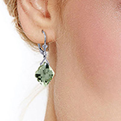 Green Amethyst Deflection Drop Earrings 17.5ctw in 9ct White Gold