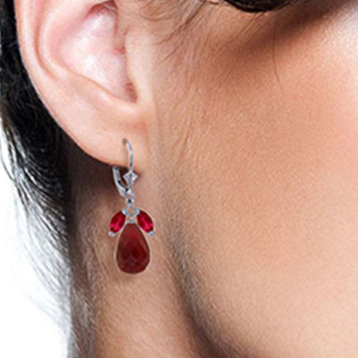 Ruby Snowdrop Earrings 18.6ctw in 9ct White Gold