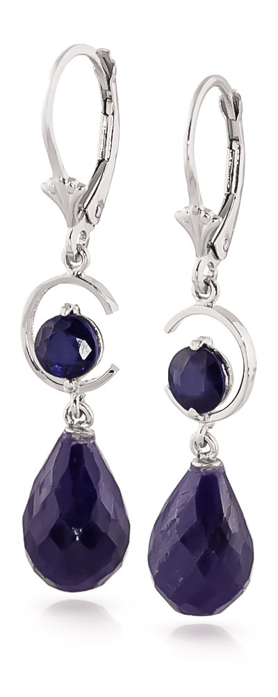 Sapphire Briolette Drop Earrings 18.6ctw in 14K White Gold