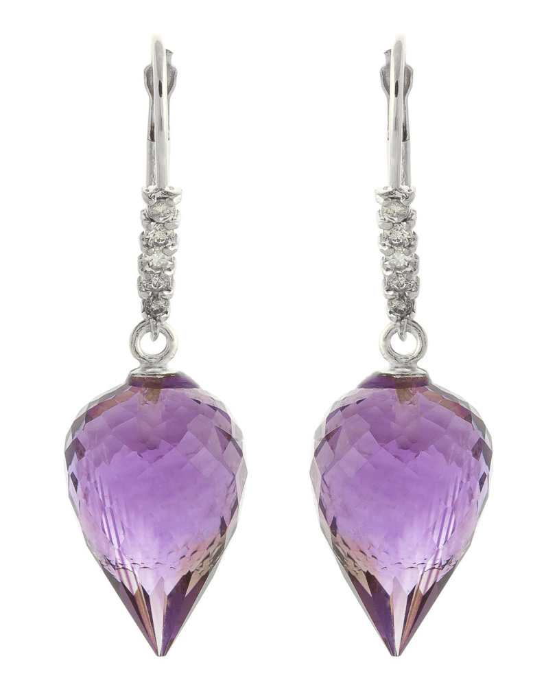 Amethyst and Diamond Drop Earrings 19.0ctw in 9ct White Gold