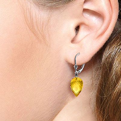 Citrine Briolette Drop Earrings 19.0ctw in 9ct White Gold