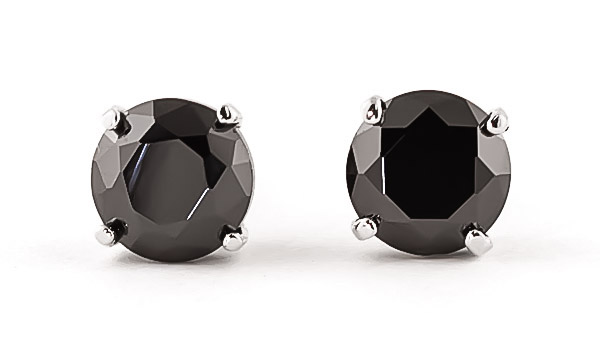 Black Diamond Stud Earrings in 9ct White Gold