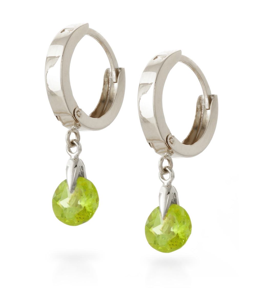 Peridot Huggie Drop Earrings 2.0ctw in 14K White Gold