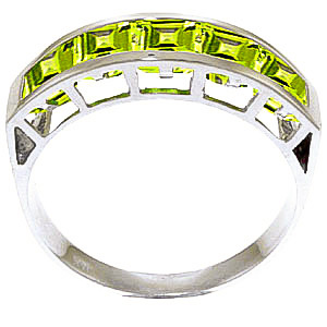 Square Cut Peridot Ring 2.25ctw in 9ct White Gold