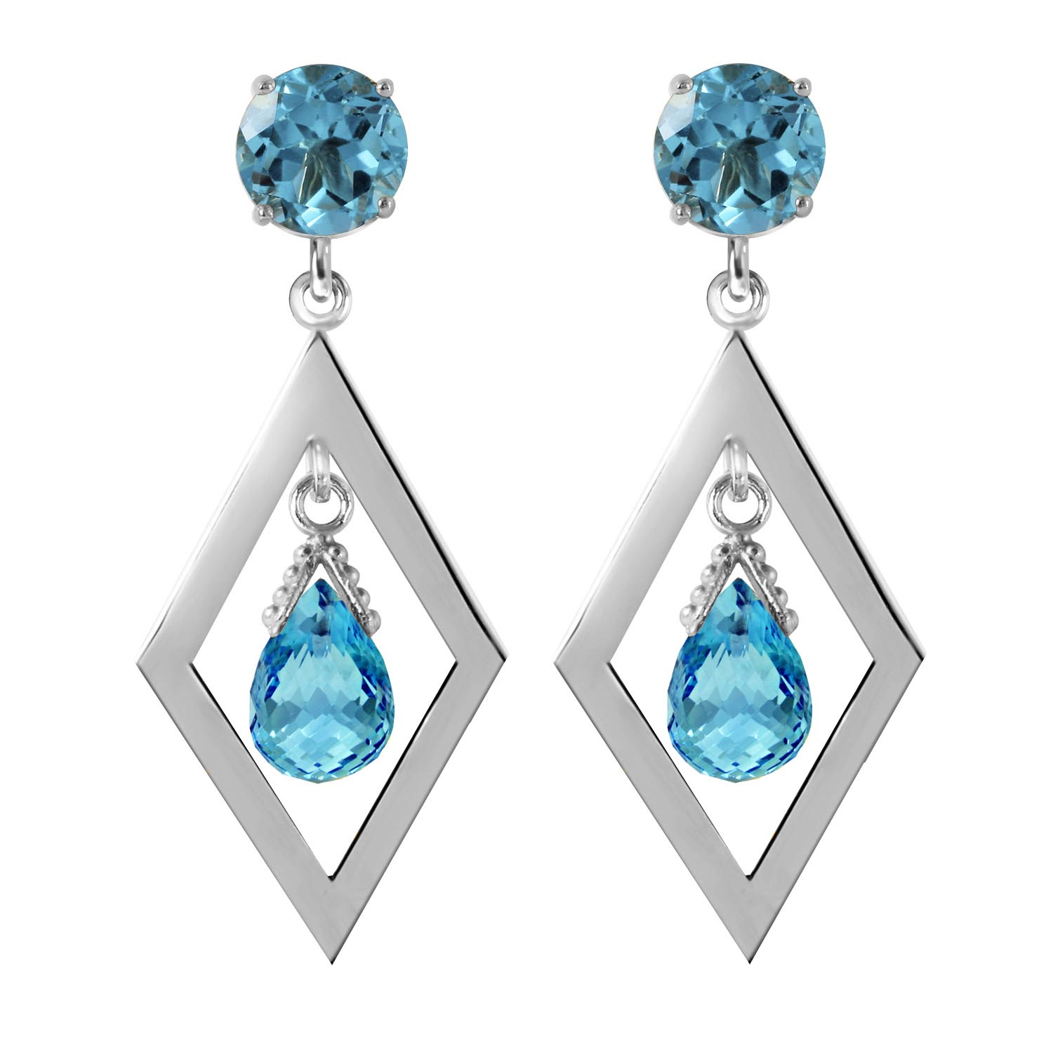 Blue Topaz Kite Drop Earrings 2.4ctw in 9ct White Gold
