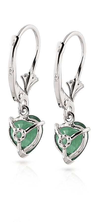 Emerald Heart Drop Earrings 2.4ctw in 14K White Gold