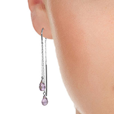 Amethyst Scintilla Briolette Earrings 2.5ctw in 9ct White Gold