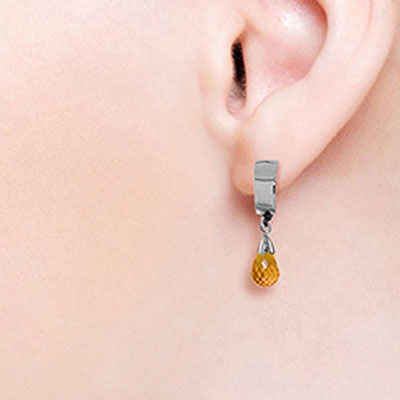 Citrine Teardrop Briolette Earrings 2.5ctw in 9ct White Gold