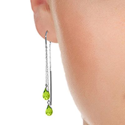 Peridot Scintilla Briolette Earrings 2.5ctw in 14K White Gold