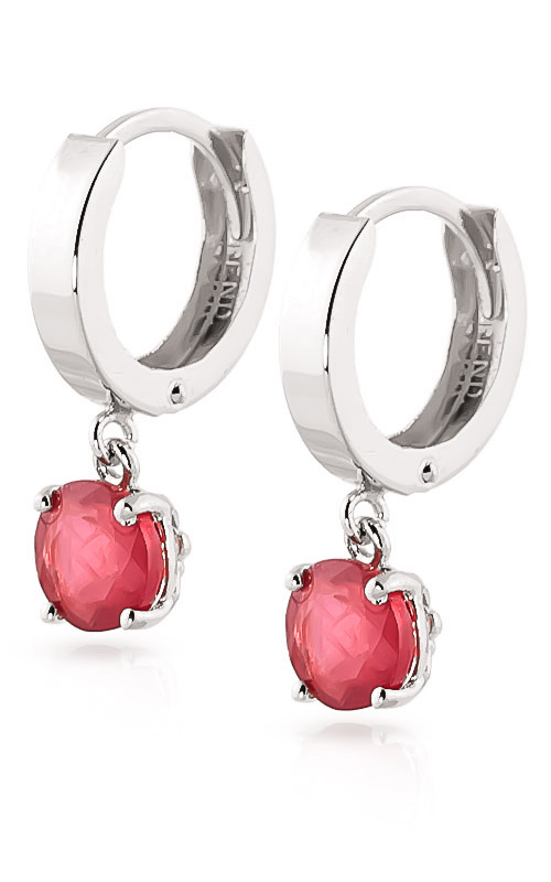 Ruby Huggie Drop Earrings 2.5ctw in 14K White Gold