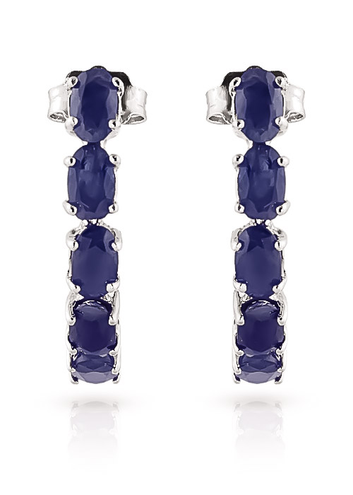 Sapphire Linear Stud Earrings 2.5ctw in 9ct White Gold