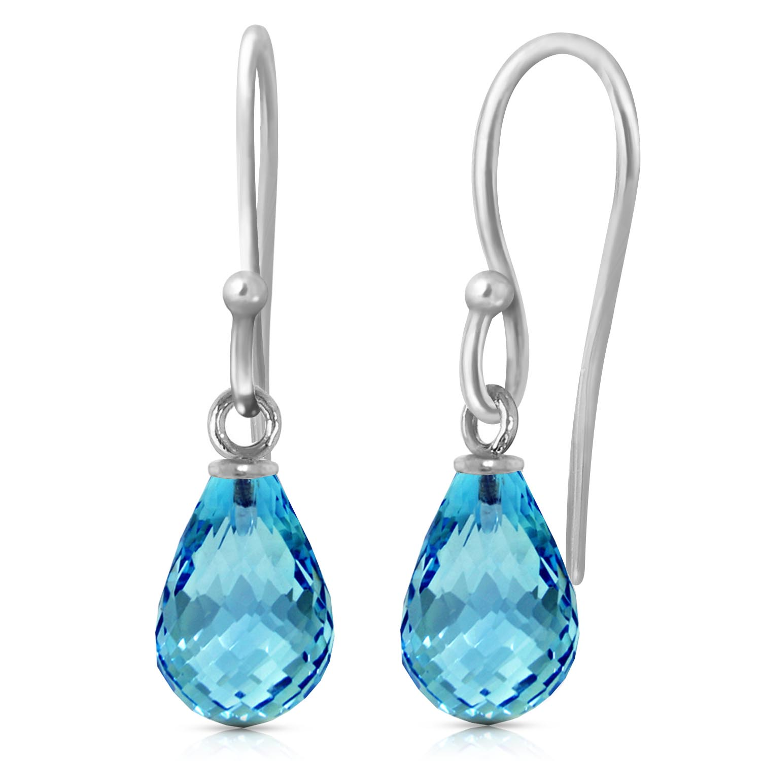 Blue Topaz Zeal Briolette Drop Earrings 2.7ctw in 9ct White Gold